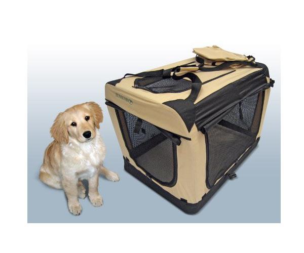 Faltbare Hunde Transportbox XL Schwarz-Beige